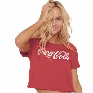 Coca Cola Red Cropped Distressed Logo T-shirt